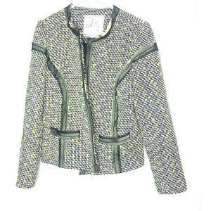 Milly Tweed Blazer Jacket Black and White Neon
